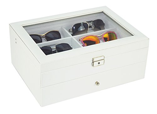 12 Piece Large White Leatherette Eyeglass Sunglass Two Level Glasses Display Case with Drawer Storage Box by TimelyBuys (Image #3)