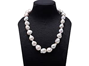 JYX White Baroque Cultured Edison Freshwater Pearl Necklace 19.5""