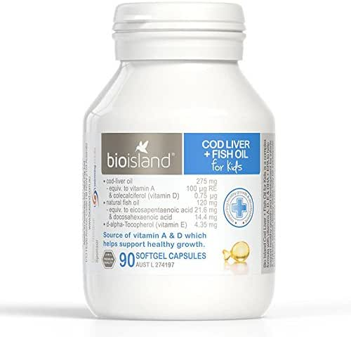 Bioisland Cod Liver + Fish Oil for kids 90Caps with 1PCS Chinese Knot Gift Made in Australia