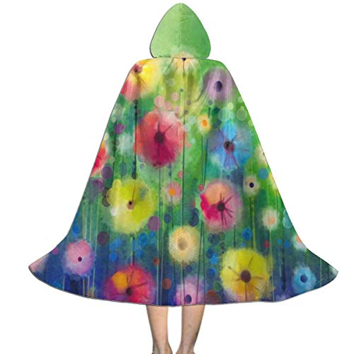 Perfectly Customized Watercolor Colorful Flowers Kids Cape Cloak with Hood Unisex Child Cosplay Halloween Christmas ()