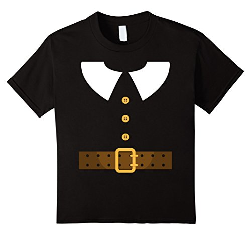 [Kids Thanksgiving Turkey Day Pilgrim Settler Costume T-Shirt 12 Black] (Pilgrim Costumes Ideas)