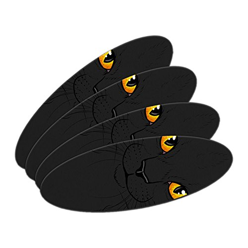 Black Cat Face - Pet Kitty Halloween Oval Nail File Emery Board 4 Pack