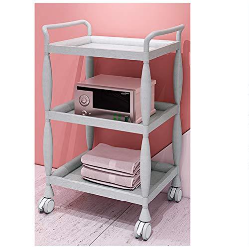 3-Tier Beauty Salon Trolley Cart, Rolling Wheels Storage Trolley, Salon Trolley, Kitchen Storage Cart,Hair Salon Rolling Cart, for Bathroom, Kitchen, Office (Plastic)