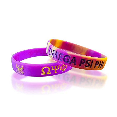 Greekin' It Omega Psi Phi Silicone Bracelets (Purple and Gold) (2 Bracelets per Pack)