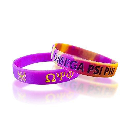 - Greekin' It Omega Psi Phi Silicone Bracelets (Purple and Gold) (2 Bracelets per Pack)