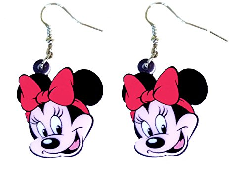 Minnie and Mickey Mouse Dangle Drop Earrings by Pashal (Minnie Mouse) (Minnie Mouse Green Ears)
