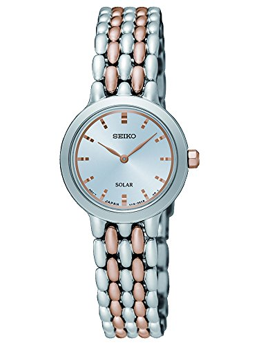 Seiko Women's Year-Round Solar Powered Watch with Stainless Steel Strap, Multicolour, 12 (Model: SUP351P1)