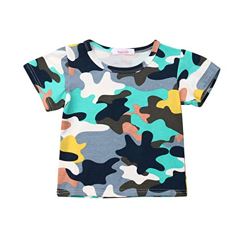 Kids Camouflage T-Shirts Childs Classic Woodland Camo Shirt Little Boys' Camo Short Sleeve Crew Tee (Camouflage, 5T)
