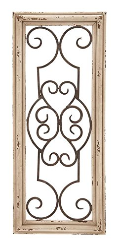 Deco 79 Wood Metal Wall Panel, 25 by 10-Inch (Wood Metal Wall Decor)