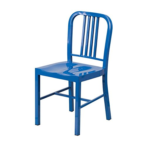 Back Coat Powder - Single Piece Blue Home Dining Chair Contemporary Metal Plastic Material Footrest Industrial Style Modern Counter Stool, Vertical Slat Back Powder Coat Finish, Protective Plastic Floor Glides
