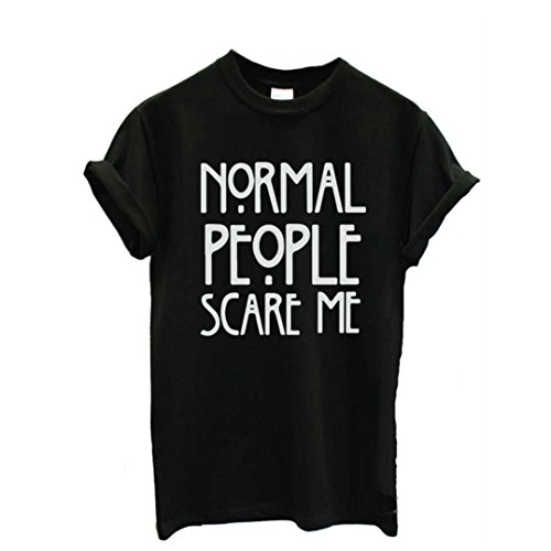 (iYYVV Normal People Scare me Women Short Sleeve Casual Cotton T Shirt Tops)