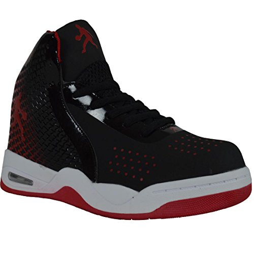 Complet 90 Hommes Athlétique Sneaker Décontracté Haut-haut Chaussures Tennis Gym En Cours Dexécution H6898 Noir / Blanc / Rouge