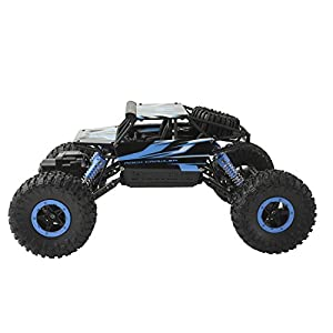 RC Car Rock Crawler Off-Road Red Electric Vehicle 4WD Remote Control Outdoors Entertainment High-Speed Racing Cars with 2 Ni-CD Rechargeable Battery (1400mAh+700mAh) (Blue)