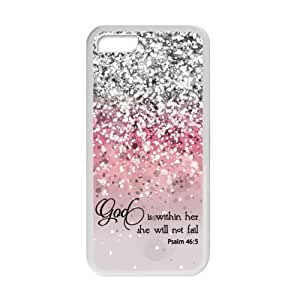Generic God Is Within Her, She Will Not Fail Psalm 46:5 - Bible Verse Pink Sparkles Glitter Pattern TPU Case Cover for Iphone 5c