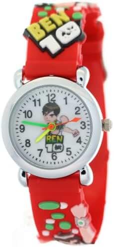 TimerMall Ben 10 Cartoon Figure Round Dial Red Rubber Strap Kids Watches