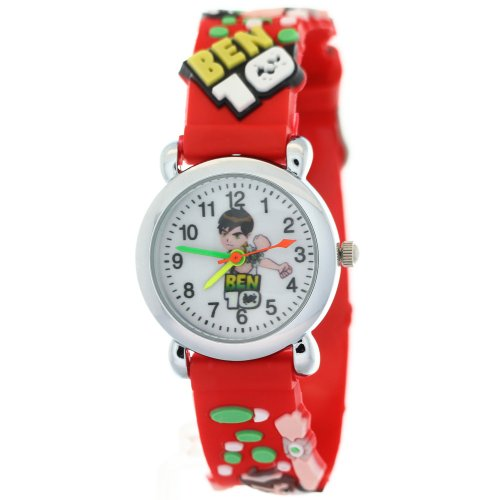TimerMall Ben 10 Cartoon Figure Round Dial Red Rubber Strap Kids - Dial Strap Rubber Red