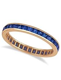 14k Gold Princess-Cut Blue Sapphire Eternity Ring Band