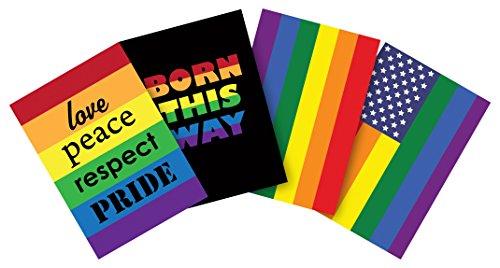 Toland Home Garden 12.5 x 18 Inch Decorative Pride 4-Pack Garden Flag Bundle