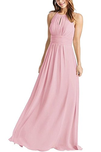 e8022ab9503 Weddder Halter Bridesmaid Dresses Long A-Line Pleated Empire Waist Chiffon  Prom Dresses Blush Size 12
