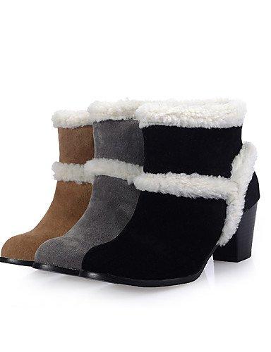 Negro Amarillo Tacón Gray Cn39 Zapatos Robusto Xzz De Redonda Vellón us8 Uk6 Moda Punta us8 Eu39 Black Vestido Casual Mujer La Botas Gris A ZqT6wtT
