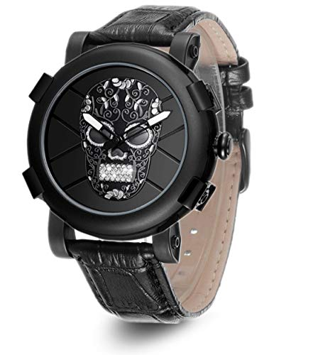 Skone Skull Watch, Sports Mens Watches Waterproof, Fashion Leather Watches for Men Male relojes de -