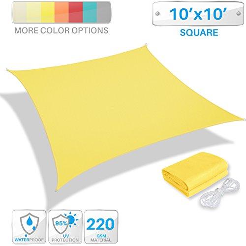 Patio Paradise 10 x 10 Waterproof Sun Shade Sail-Yellow Rectangle UV Block Durable Awning Canopy Outdoor Garden Backyard
