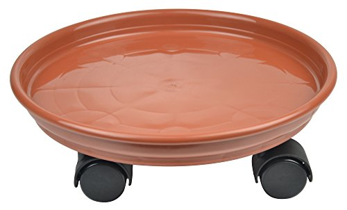 10.6'' Plant Stand Caddy,Round Plant Dolly Trolley Saucer Moving Tray Pallet on Wheels for Flowerpot,Brown,270 Count by Zhanwang