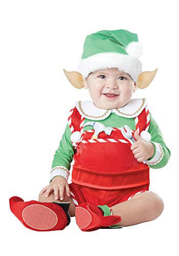 California Costumes Unisex-Baby Infant Santa's Lil Helper, Green/Red,