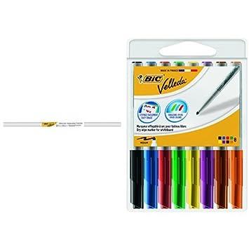 BIC Velleda - Rollo adhesivo, 1 mx 2 m + Pack de 8 rotuladores, multicolor