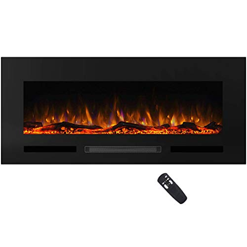 """Masarflame Charlton 50"""" Recessed Electric Fireplace Insert, 13 Color Backlight, 5 Flame Settings, Log Set or Crystal Options, Touch Control Panel, 750/ 1500W Heater from Masarflame"""