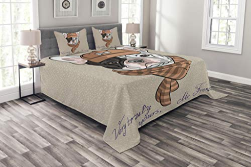Lunarable Vintage Coverlet Set Queen Size, Funny Hipster French Bulldog with Cap and Lines Scarf Punk Animal Humor Art, Decorative Quilted 3 Piece Bedspread Set with 2 Pillow Shams, Ecru Pink Brown (French Quilted Pillow)