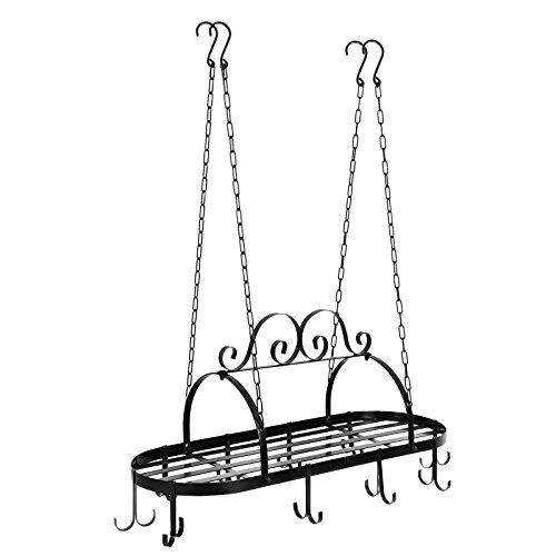 ZENY Pot Pan Rack for Ceiling Cookware Hanging Organizer with Hooks-Multi-Purpose Storage Rack Great for Kitchen Cookware,Utensils,Pans,Household Items (Oval Iron)