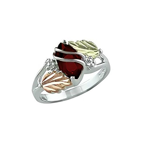 Marquise Created Garnet January Birthstone Ring, Sterling Silver, 12k Green and Rose Gold Black Hills Gold Motif 5 by Black Hills Gold Jewelry