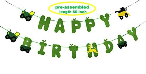 (Green Tractor Birthday Banner - decorations - party supplies - party banners - john)