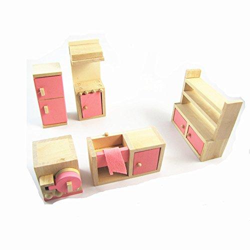 delicate Casa de mu?ecas en miniatura de muebles de madera de la ...