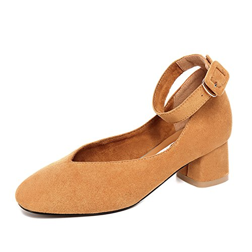 Cabeza la Nude rugoso tacones Primavera Con Señora Mediados Cuadrada zapatos palabra De zapatos Pq1dHwnxg