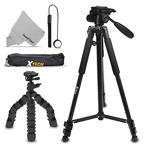 Xtech Double Tripod Kit with 72 Inch Tripod + 12 Flexible Tripod for Nikon Coolpix A900, B500, B700, L840, L830, W300, W100, P900, P610, AW130, AW120, S9900, S9700