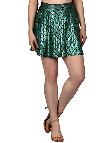 HDE Womens Shiny Mermaid Fish Scale Mini Flared Pleated Skater Skirt (Green, Large) -