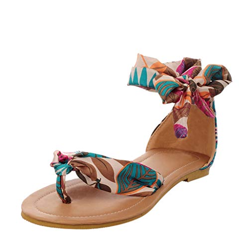 Respctful✿Summer Flat Sandals Bohemian T Strap Thong Shoes Casual Slip-On Ankle Wrap Flat Sandals Blue