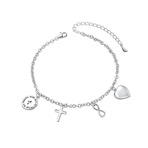 SILVER MOUNTAIN with God All Things are Possible Infinity Cross Love Heart Adjustable Bracelet Link Religious Jewelry 7 inches to 9 inches