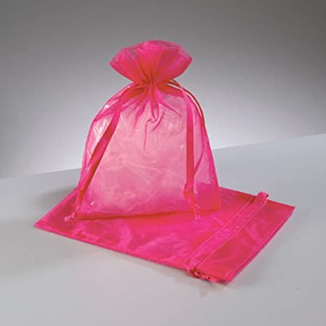 25 Hot Pink joyas matrimonio Bolsas Organza 18 x 24 cm ...