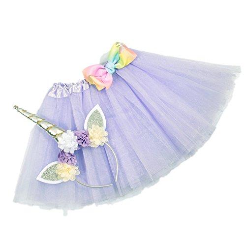 Nishine Tutu Skirt Dress + Unicorn Horn Headband Set Kids Birthday Photo Props Outfit (Lavender) -