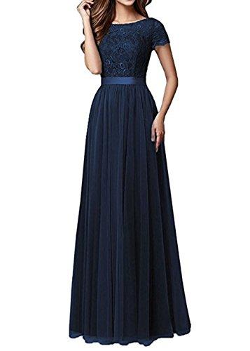 Anna's Bridal Women's Prom Bridesmaid Dresses Short Sleeves Long 2018 Wedding Party Dress Navy Blue US4