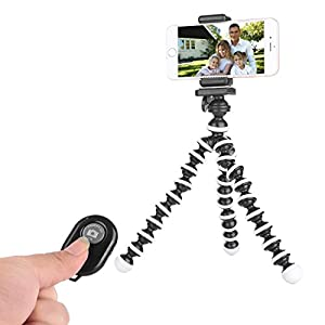 Tripod for iPhone and Camera with Bluetooth Remote and Universal Phone Clip
