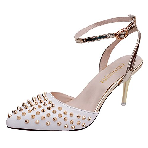 Azbro Mujer Zapatos Estilete Bomba Tacón con Remache Puntera Punta Color Bloque Blanco