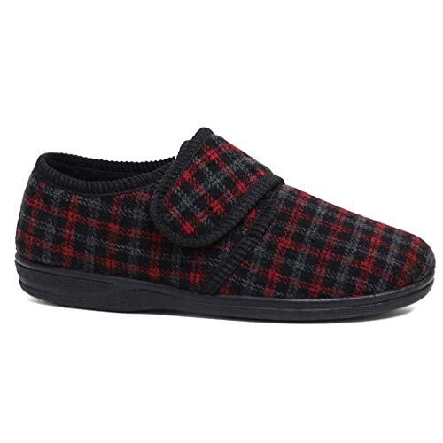 Para Rojo Easy Diabético Fitting Northwest Zapatos Bar Ortopédico Territory Correa Wide Negro Hombre Toque Close Cerca Zapatillas qwtan4X