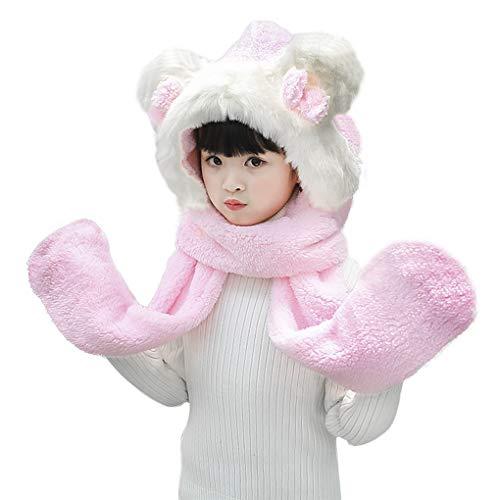 Kids Toddler Cartoon Fleece Hat Gloves Scarf 3 In 1 Set Winter Warm Plush Hoodie Earflap Hat Snood Wraps Plush Scarf Gloves