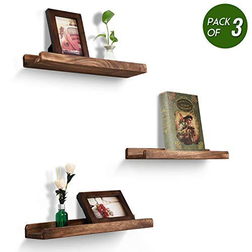Emfogo Wood Picture Ledge Shelf Rustic Floating Shelves Set of 3 for Storage and Display 16.9 inch Carbonized Black (Floating Ledges)