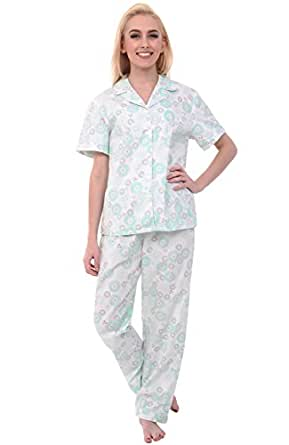Alexander Del Rossa Womens Cotton Pajamas, Woven Pj Set with Pants, Small Green Circles on Cream, Piping (A0518B43SM)