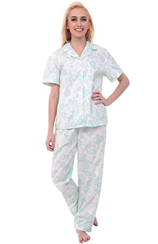 Alexander Del Rossa Womens Woven Cotton Pajama Set with Pants, Button Down Pjs, 2XL Green Circles on Cream, Piping (A0518B432X)